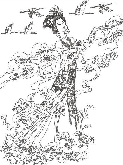 古装仙女铅笔手绘