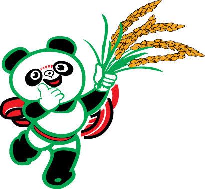 熊猫 盼盼熊猫 水稻 水稻大田 熊猫抱竹 熊猫翠竹 熊猫图片 熊猫竹子