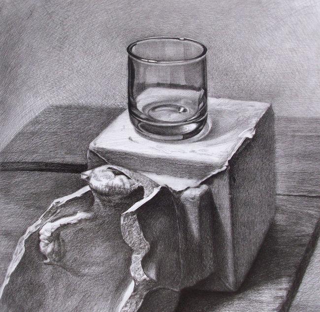 高分 清华美院 素描 色彩 绘画 画画 静物 几何形体 石膏头像 玻璃