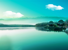 唯美蓝色湖泊