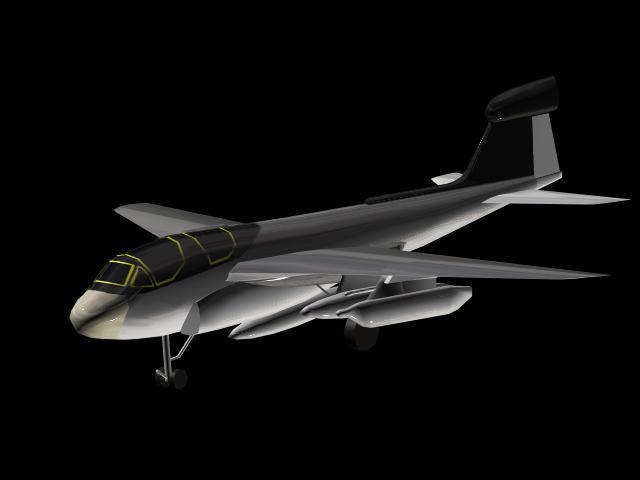 ea6b 电子战飞机模型 max 黑色