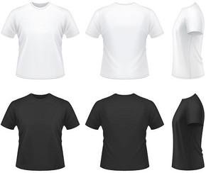 黑色白色多角度T恤模板