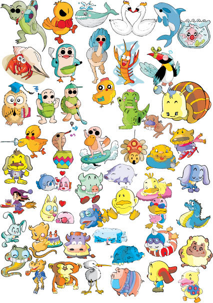 卡通动物适量图矢量图免费下载_格式:ai(图片编号:)-.