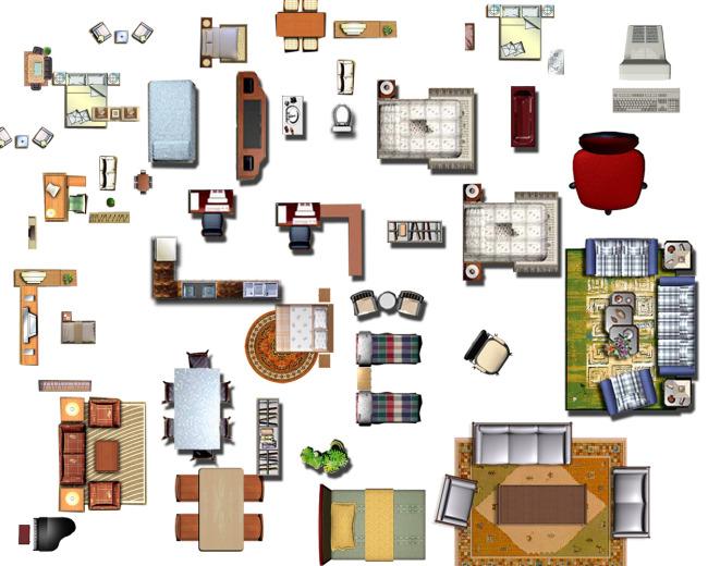 家具平面图矢量图免费下载_psd格式_1417像素_编号1329629-千图网