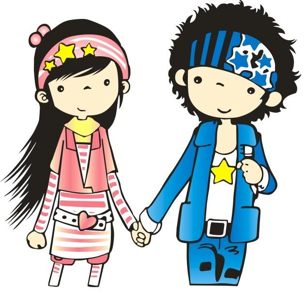 女孩 男孩 卡通女孩 卡通男孩 卡通美女 长发美女 手牵手 浪漫情侣