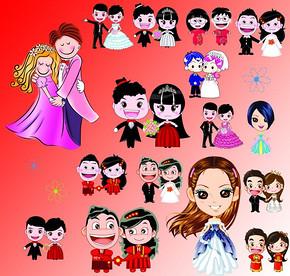 婚礼卡通人物素材