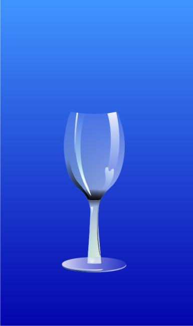 手绘透明酒杯矢量图
