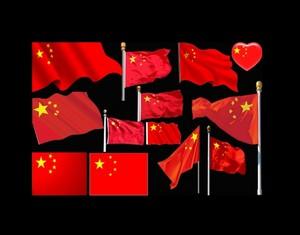 红旗飘飘国庆素材