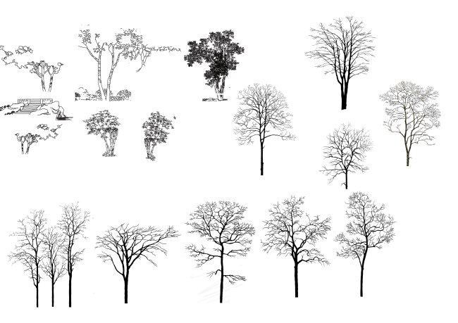 钢笔手绘立面树psd素材免费下载_格式:psd_大小:3308x