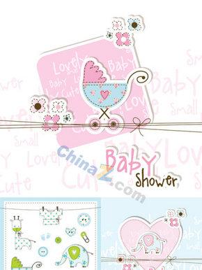 可爱卡通婴儿卡片矢量素材免费下载