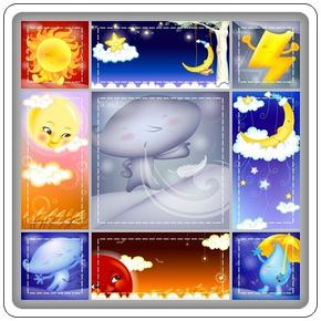 超可爱卡通月亮太阳雨点PSD分层素材