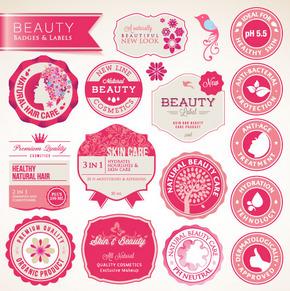 粉色系漂亮标签素材