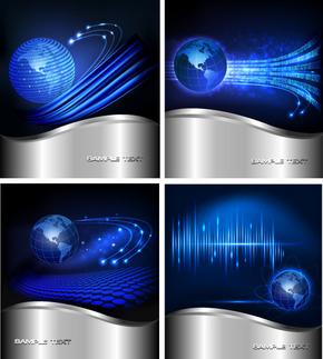 背景矢量图商务蓝色科技地球星空