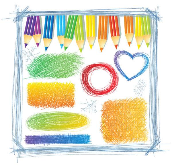 童趣彩铅手绘图案纹理边框免费下载_格式:eps(图片:)