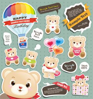 矢量标签可爱小熊