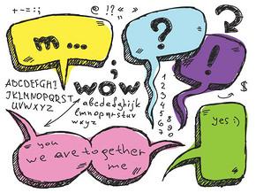 矢量素材手绘彩色对话框
