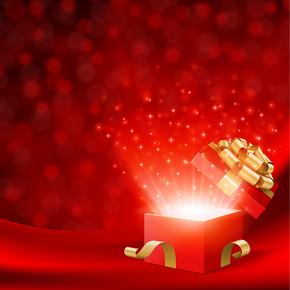 背景矢量素材圣诞节发光礼盒光斑