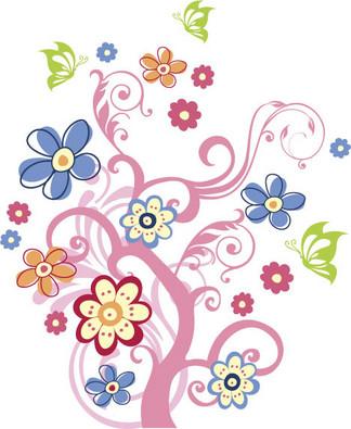 矢量素材线条<i>花</i><i>草</i><i>树</i><i>木</i><i>背</i><i>景</i>