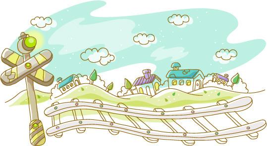 可爱手绘火车道附近街景素材