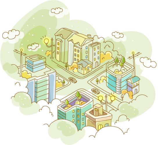 城市俯视图插画