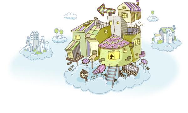 精美手绘可爱云上的房子素材