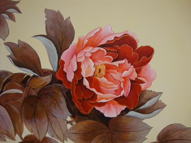 手绘墙牡丹花
