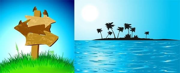 矢量小鸟 草地 指示牌 椰子树剪影 海水 小岛 矢量素材 eps 青色 天