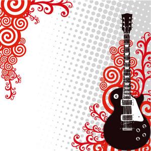 矢量潮流吉他红色线条背景素材