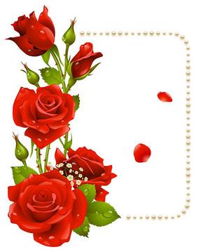 浪漫七夕玫瑰花边矢量图