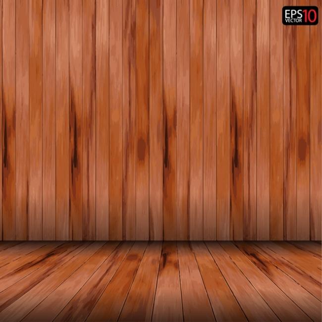 室内木板装饰墙壁矢量素材