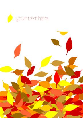 矢量动感落叶秋季背景花纹