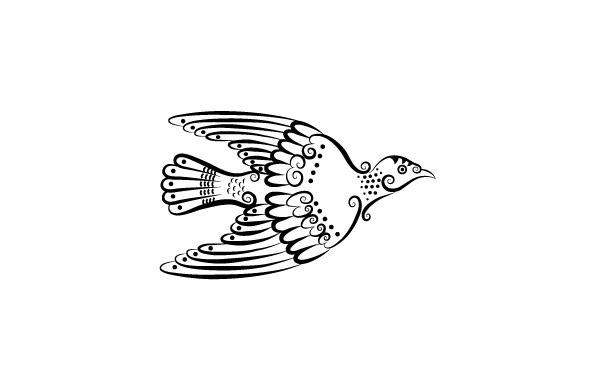燕子黑白花纹 刺青 纹身 线条 动物 花纹 剪影 矢量图 免费下载 矢量