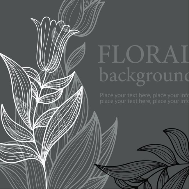 矢量手绘黑白线条装饰花朵纹样