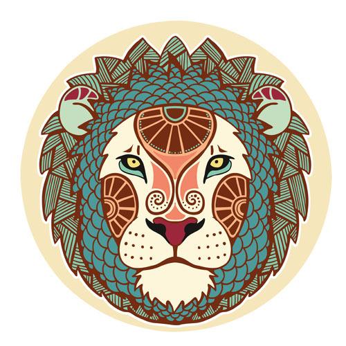 矢量狮子星座图案素材