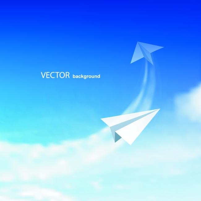 矢量天空纸飞机背景素材