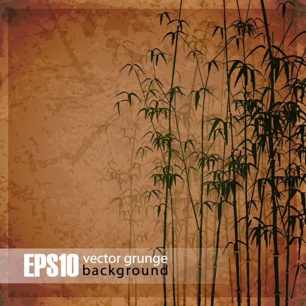 矢量复古手绘竹子图案素材