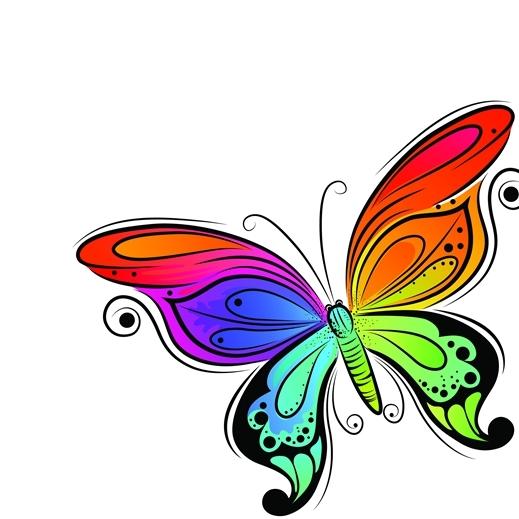 彩绘 线稿 蝴蝶 手绘插画 图片素材 eps