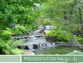 高山流水风景PPT模板