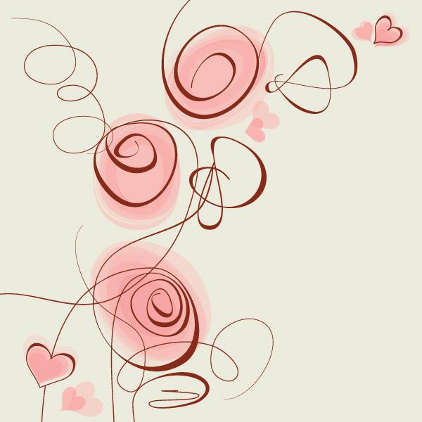 蝴蝶 心形 手绘 花朵 花卉 矢量素材 线描
