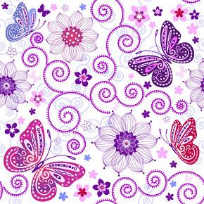 蝴蝶花卉花纹样式矢量素材