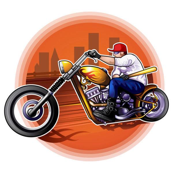 卡通哈雷摩托车
