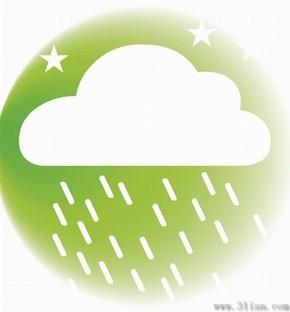 浅绿天气大雨图标