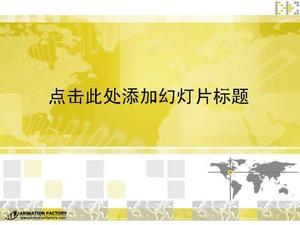 黄色背景商务商业PPT模板