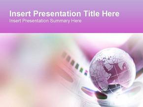 紫色背景地球商务PPT模板