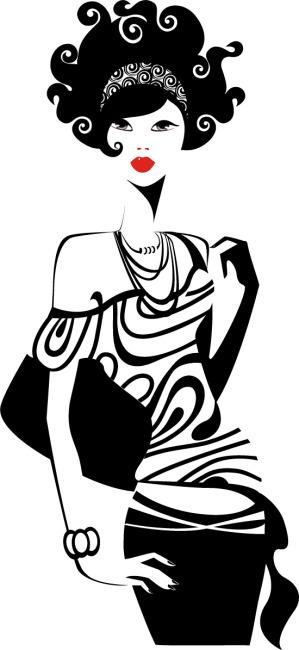 矢量手绘黑白线条时尚女性素材