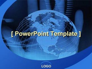商务系列模板深蓝色地球商务PPT模板