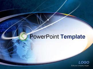 商务系列模板蓝黑色地球商务PPT模板