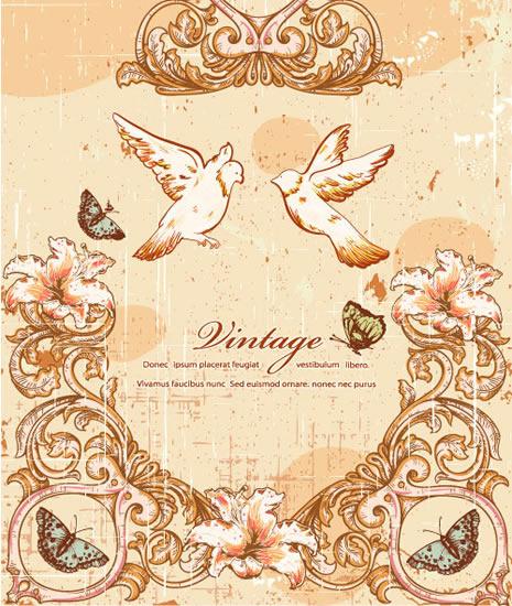 欧式宗教天使鸽子复古花边