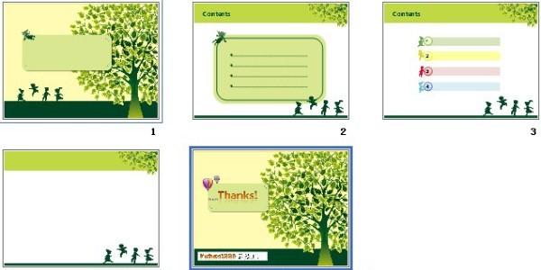 绿色树木ppt模板