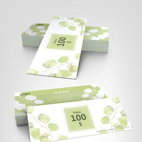 绿色清新叶子优惠券模板